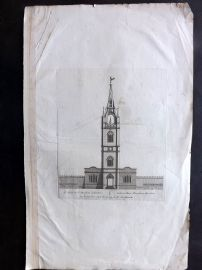 Pieter Mortier C1700 Folio Architectural Print. St. Dunstan Church, London